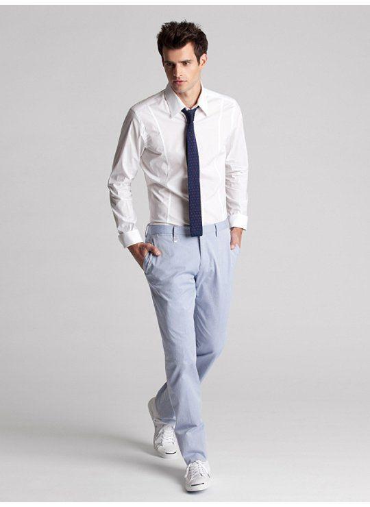 Slim Woven Two-Button Collar Shirt