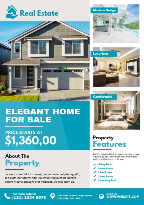 Real Estate Flyer Template Real Estate Flyers Real Estates Design Sale House