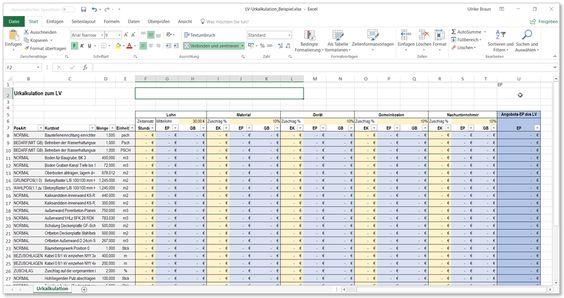 Die Urkalkulation Auf Basis Einer Gaeb Datei Gaeb Online Excel Vorlage Tabelle Vorlagen Gaeb Erstellen Datei Aus Ausschreibungen Lei In 2020 Periodic Table Resume