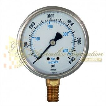 "Part #RV132A3N332KG Series 7211, 1/4"" NPT Bottom Connection, 2 1/2"" Gauge Size, 0-6000 PSI, Liquid Filled Gauge."