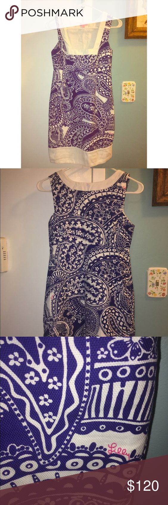 Lilly Pulitzer White and Blue Dress Beautiful and true to size. Has pockets. Only been worn twice. Lilly Pulitzer Dresses Midi