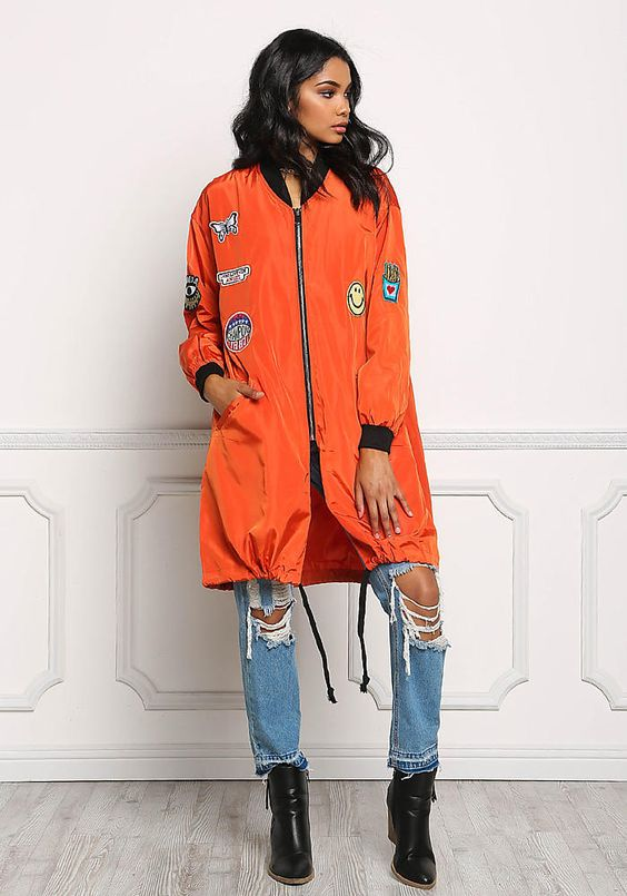 Orange Long Windbreaker Patch Bomber Jacket - New Arrivals