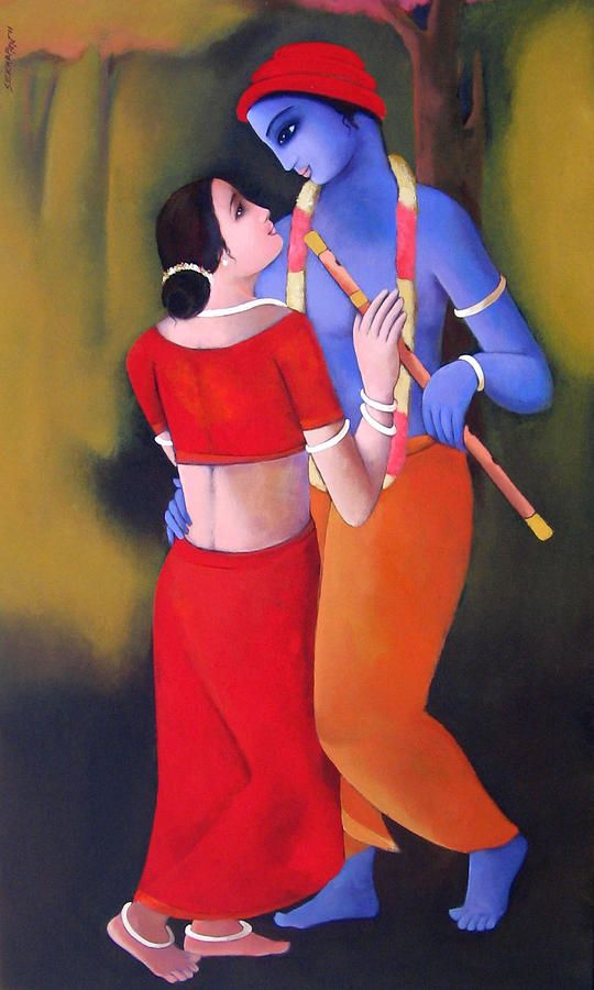 Krishna With She Vi Painting