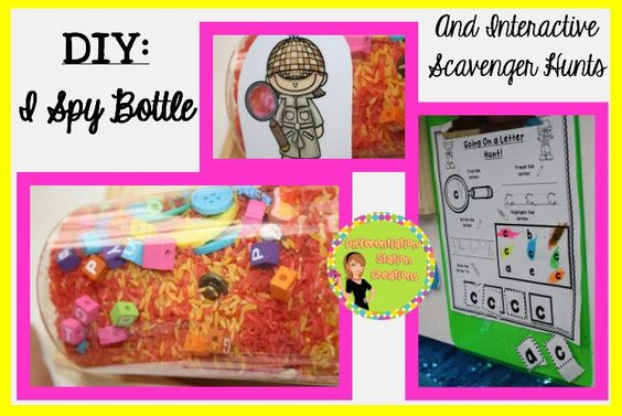 I Spy Letters: DIY Containers  Letter Scavenger Hunts for ANY text!!