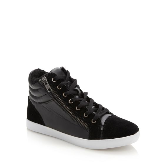 Black zip detail high top trainers - Trainers - Debenhams.com