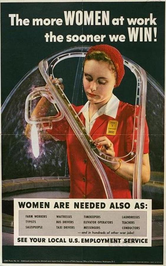 Women at Work during the war. Le personnage de Rosie la riveteuse s'inspire d'une femme réelle, Rose Will Monroe, née en 1920 dans le comté de Pulaski (Kentucky) qui déménagea vers le Michigan pendant la Seconde Guerre mondiale. Elle travailla à l'usine de Willow Run à Ypsilanti à construire des B-29 et des B-24. Elle fut requise pour figurer dans un film faisant la promotion de l'effort de guerre et être représentée sur une affiche.