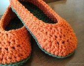 Pumpkin-colored, hand-crocheted slippers $15.00