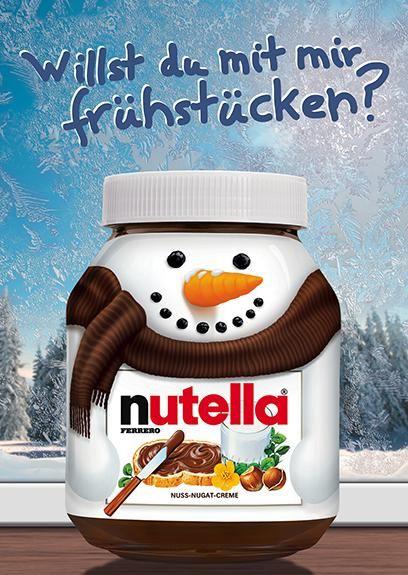 Nutella Schneemann-Glas-Grüße