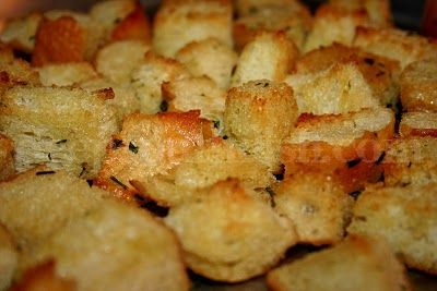 The Absolute Best Homemade Croutons - Garlic infused olive oil is the key to these beautifully crispy and golden brown croutons.