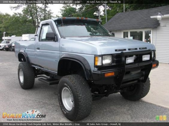 1990 nissan hardbody truck regular cab 4x4 winter blue metallic gray with vent shades and bull. Black Bedroom Furniture Sets. Home Design Ideas