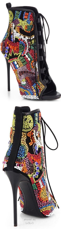 Giuseppe Zanotti Crystal-Covered Comic Open-Toe Ankle Boots | LOLO