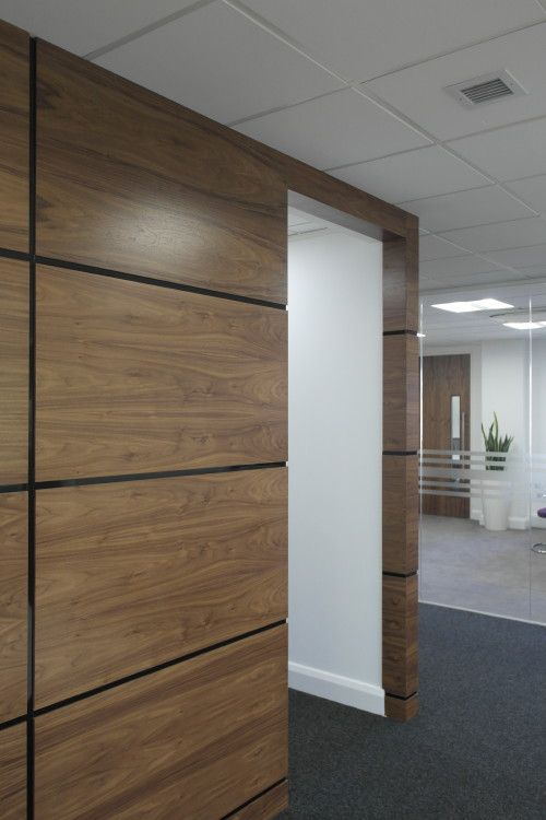 Plexwood Office design with wood veneer panels with birch plywood