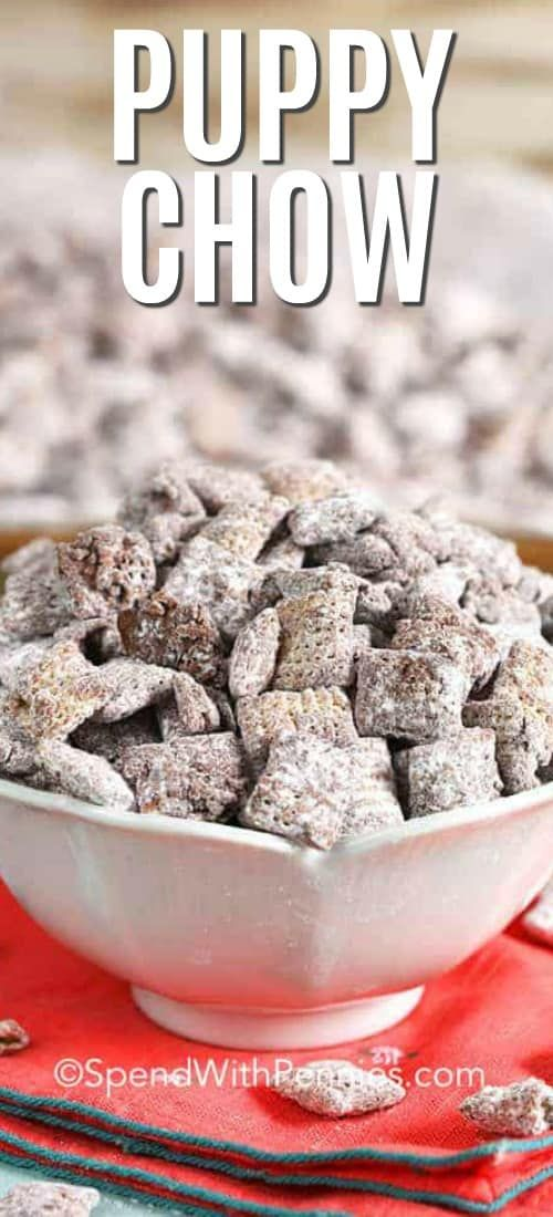 This Easy Puppy Chow Recipe Aka Muddy Buddies Is An Easy Back To School Hit With My Kids They Love Easy Puppy Chow Puppy Chow Recipes Easy Puppy Chow Recipe