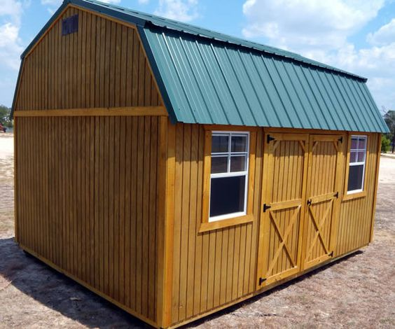 Derksen portable treated side lofted barn storage building for Side storage shed