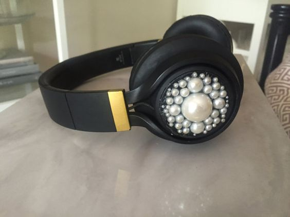 Pearlized Bluetooth Headphones by CrowninGlories on Etsy