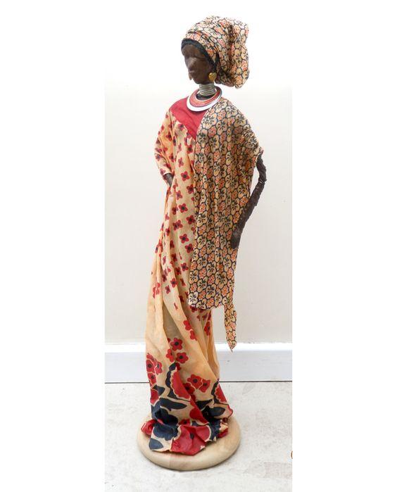 by Sandra June Originals. 'Malika', Tall African Lady, handmade sculpture with large headress. R184 £65.00
