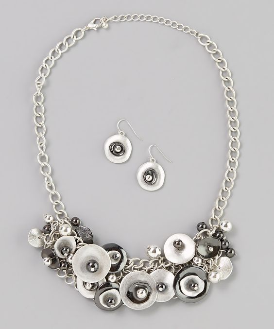 Silver & Hematite Disc Necklace & Earrings | Daily deals for moms, babies and kids