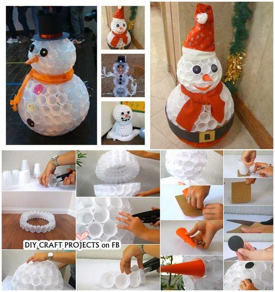 Bonhomme de neige bricolage de gobelets en plastique decoration no l pinterest no l - Bonhomme de neige gobelet plastique ...