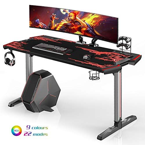 Galaxhero Ergonomic Gaming Desk 61 2 T Shaped Computer Desk With Rgb Led Lights Workstation With Carbon Fiber Tex Rgb Led Lights Gaming Desk Rgb Led
