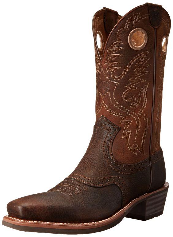 Amazon.com: Ariat Men's Heritage Roughstock Square-Toe Western Boot: Ariat: Shoes