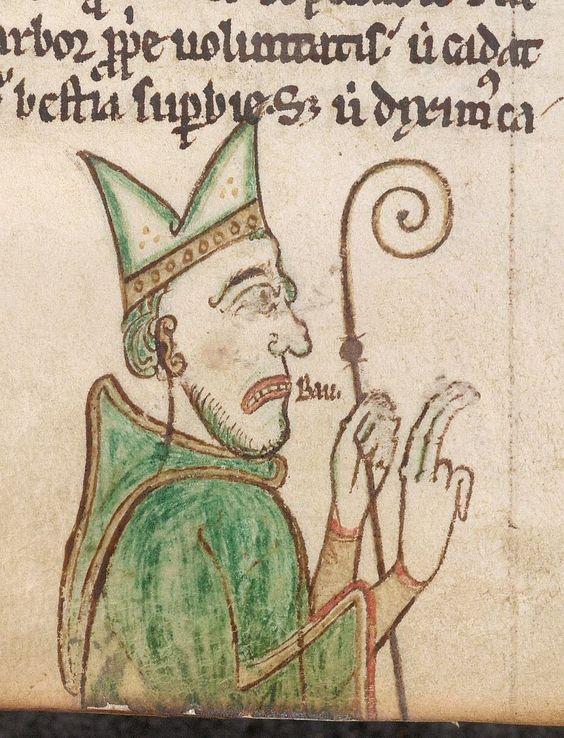 Сердитый епископ. Grumpy bishop shouting 'Bau' @BLMedieval Arundel 248 f. 104