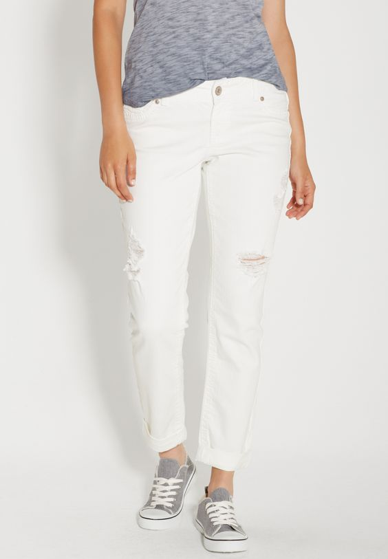 boyfriend jeans with destruction in white (original price, $44.00) available at #Maurices
