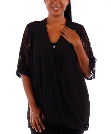 Black Open-Weave Crochet Wrap Top - Plus #zulily #zulilyfinds
