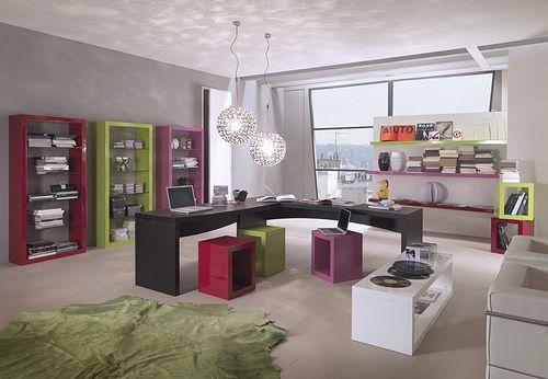 design studio. cool color arrangement.