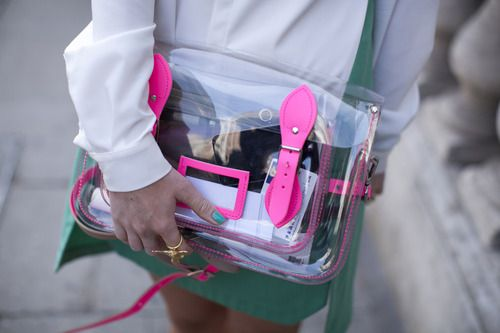 A transparent clutch is a clear choice for SS13. Just make sure your purse doesn't clash with your outfit!
