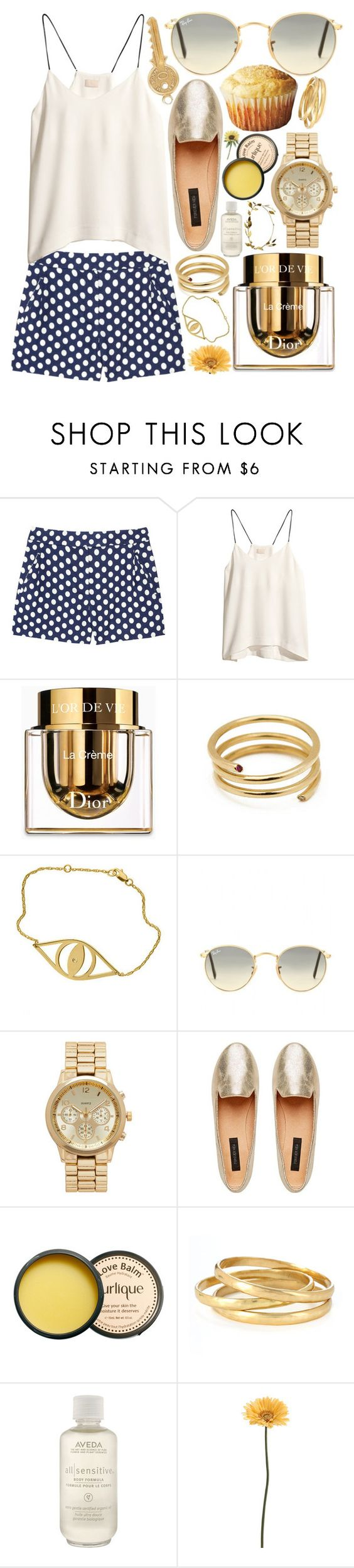 """""""gold coasts"""" by supercoookie ❤ liked on Polyvore featuring J.Crew, H&M, Christian Dior, Ella Poe, Jennifer Zeuner, Ray-Ban, Forever New, Jurlique, Kenneth Cole and Aveda"""