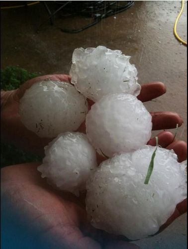 Yesterday's deadly storms in Texas produced grapefruit-sized hail