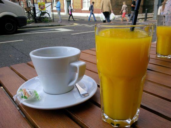 Double espresso & OJ @ Restaurant Aubaine