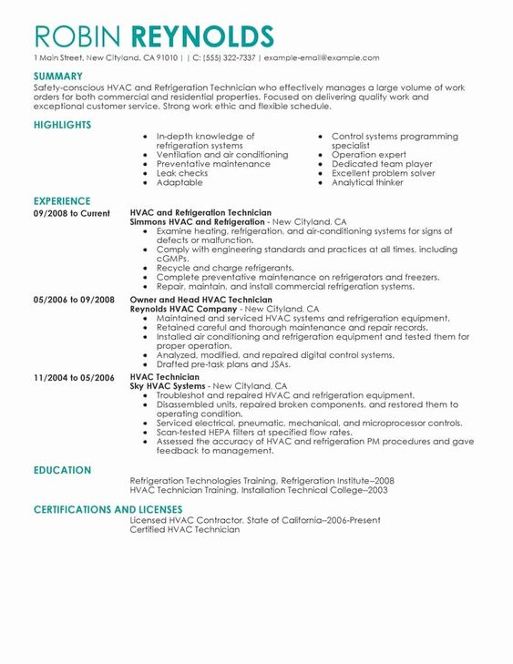 Hvac Technician Job Description Resume New Best Hvac And Refrigeration Resume Example In 2020 Job Resume Samples Resume Examples Job Resume Examples