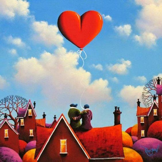 O artista plástico britânico David Renshaw pinta desde a tenra idade, o romance se faz presente na temática principal de suas obras, sempre com um casal de namorados e um balão gigante em formato de coração. O artista diz que sua preocupação principal é dar destaque ao céu e as nuvens criando uma atmosfera de sonho apaixonado.