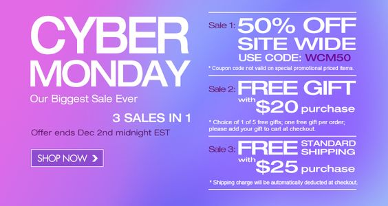 Cyber Week Sale-the biggest sale ever. 3 sales in 1. Ends at Dec 2nd.