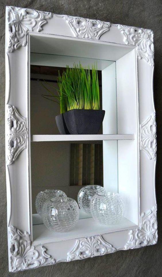 Wandregal Küche Antik ~ Wandregal Regal Badregal Spiegel barock antik Weiß 60 x 40 Landhaus