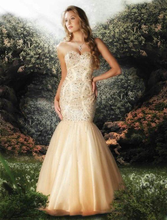 Cream mermaid prom dress - Prom dresses - Pinterest ...