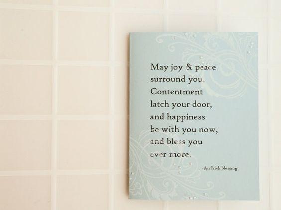 Irish Blessing Card - Handmade Card -  white, blue, swirls, sparkle - Wedding, Anniversary, Birthday, Christening, Confirmation, Graduation