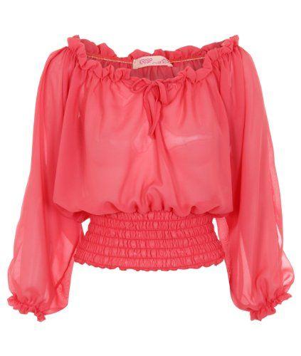 Womens Chiffon Gypsy Split Open 3/4 Sleeve Off Shoulder Frill Shirred Top Blouse (Coral,8) KRISP http://www.amazon.de/dp/B00KADB2UE/ref=cm_sw_r_pi_dp_YXYFvb04S89VK