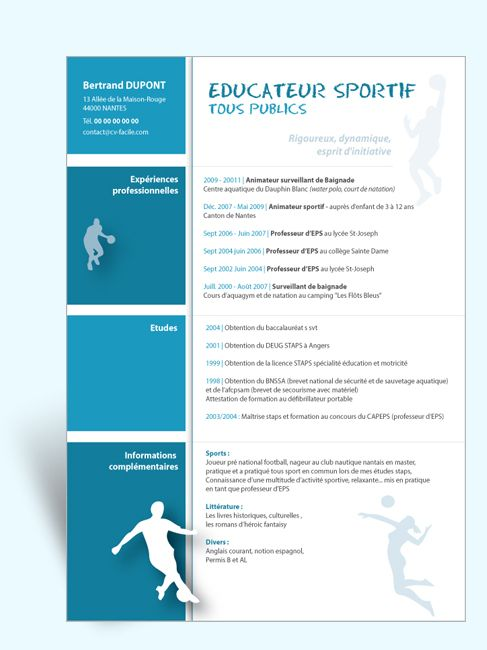 Modele Cv Original Educateur Sportif Modele Cv Cv Gratuit Word Cv Gratuit