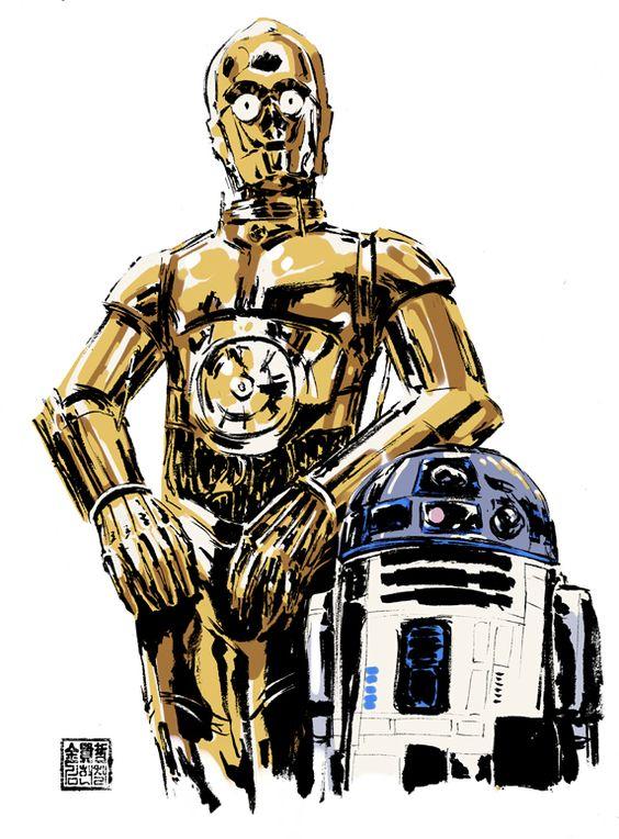 C3po And R2d2 Star Wars Background Star Wars Drawings Star Wars Geek