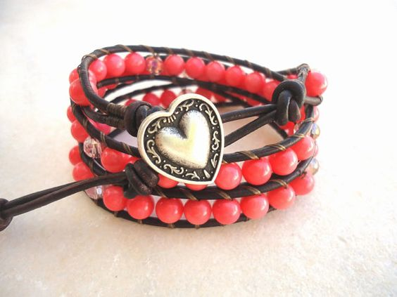 Coral Pink Leather Triple  Wrap Bracelet/stack by CreationsByAlina, $35.00