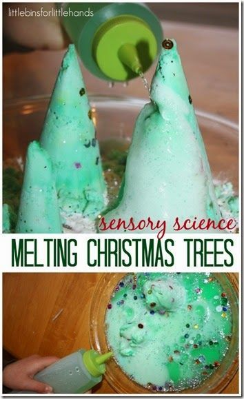 Super fun melting Christmas tree science for kids.