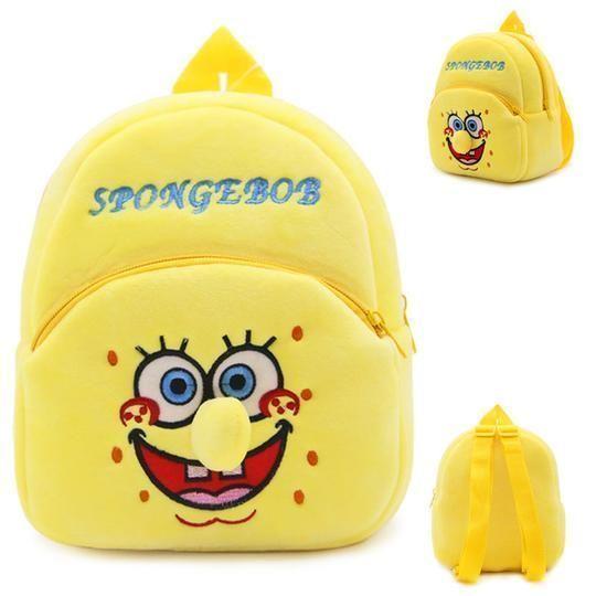 Kids Lovely Backpack Spongebob Shape Kindergarten Bookbag Plush Stuffed Doll