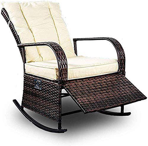 Beautiful Patio Pe Rattan Wicker Rocking Chair Auto Adjustable Patio Sofa Relaxing Lounge Cha Lounge Chair Outdoor Outdoor Chairs Outdoor Wicker Rocking Chairs