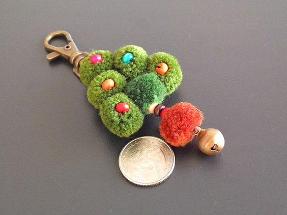 Christmas Tree Keychain Handmade Pom Pom by HillTribesTreasures