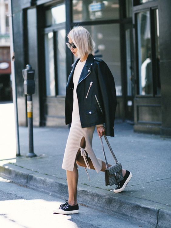Vanessa Hong of THE HAUTE PURSUIT, Pairs a Light Sweater Dress Against Bare Skin and Superga Sneakers