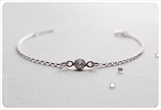Dainty CZ Diamond Bracelet - Sterling Silver Solitaire Bracelet - Bezel Set - Gift for her - Simple Minimalist Everyday Jewelry LITTIONARY