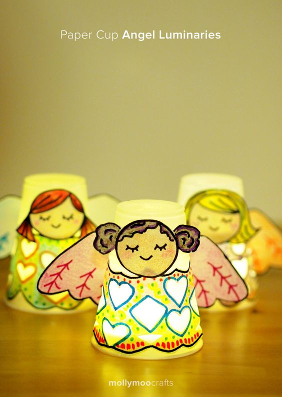 Another kids craft for Christmas - little Angel tea light covers - very cute!