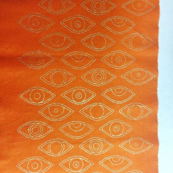 """Sampling away our eye print. #ecru #eyes #blockprint #handmade #gold #artisan #fabric"""